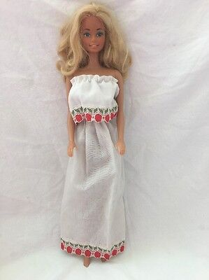 Vintage Barbie Doll Clone Knockoff Strapless White Maxi DRESS Red Tulip Lace