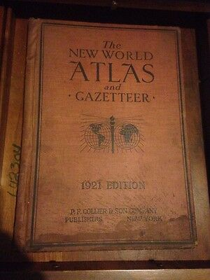 New World Atlas And Gazetteer 1921 Edition Antique Maps Collier & Son Company VG