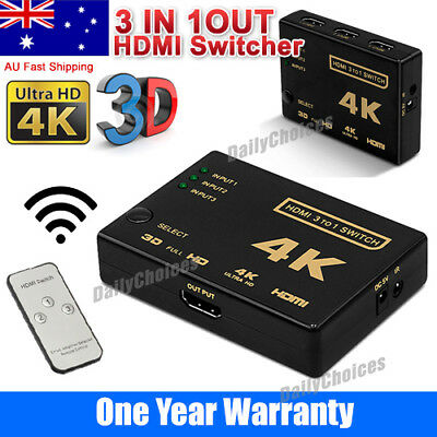 Ultra HD 3Way HDMI Switch Splitter HDTV Auto 3 Port IN 1 OUT Remote Control 4K