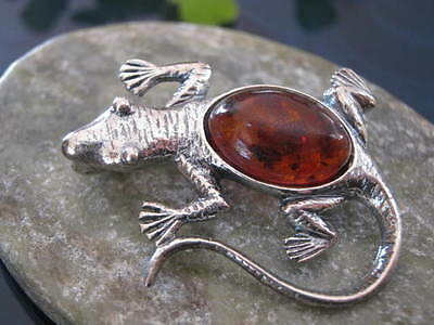 Genuine Baltic Amber and Solid 925 Sterling Silver Hand Made Lizard Brooch FPH