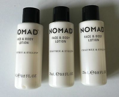 3 x 25ml (75ml Total) Crabtree and Evelyn Nomad Face & Body Lotion, Mens