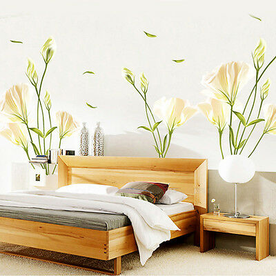 New Art Vinyl Removable Large Wall Stickers Lily Flower Mural Words Home Decor
