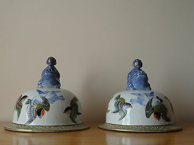 c.19th - Antique Chinese Japanese Blue & White  Porcelain Large Lid Pair