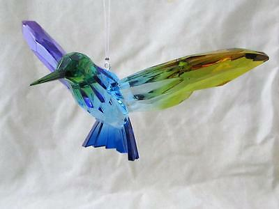 Hummingbird Crystal Expressions Acrylic Sun Catcher Rainbow Blue Free Ship