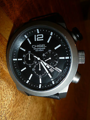 Mens Chisel 5829140 Chronograph Watch 55Mm  Black Dial And Black Leather Band