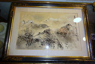 Antique Chinese Ink & Colour Painting on Silk in Italian Cassetta type Frame