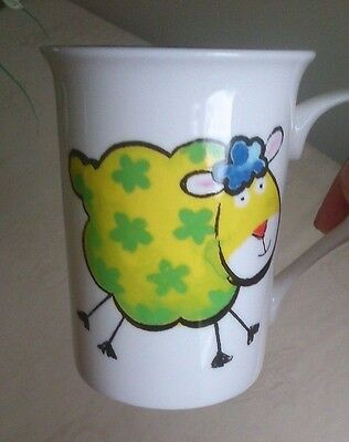 KIRSTY JANE STAFFS. UNUSED LARGE 350 ml / 12 OZ BONE CHINA WOOLY LAMB SHEEP MUG