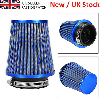 Blue Finish Car Air Filter Induction Kit High Power Sports Mesh Cone Uk Delivery