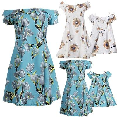 Fashion Mother Daughter Women Girls Summer Dress Family Matching Outfits Clothes