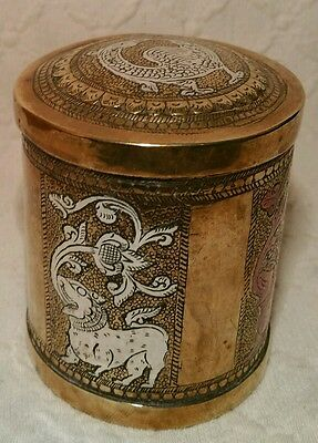 Antique Indian Brass Tea Caddy With Silver & Copper Inlaid Mythical Beasts