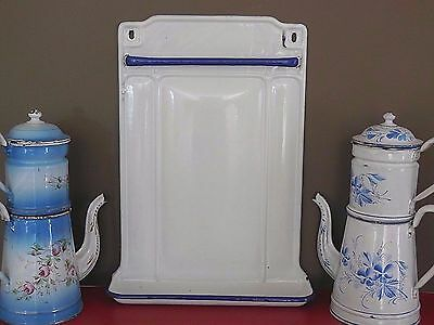 ANTIQUE French Enamelware UTENSIL RACK - WHITE ENAMEL BLUE RIMS