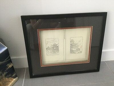 Original Chinese Woodblock, C. 1910, framed
