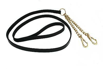 NEW!!!! LEATHER lead Reins with newmarket brass chain Black!!