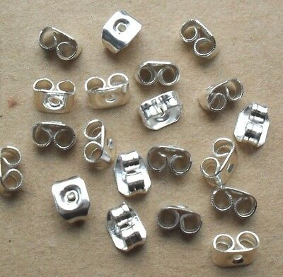 FREE P&P 20 (10 pairs) SILVER BUTTERFLY EARRING BACKS STOPPERS 4X4mm