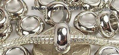 10 Smooth Spacer Beads Silver Tone To Fit European Charm Bracelets