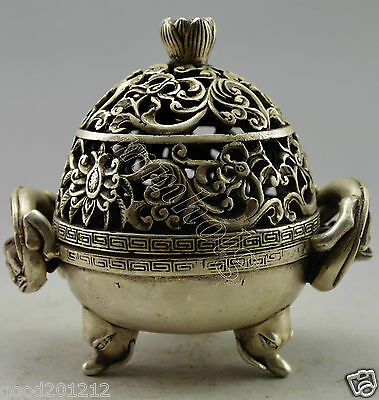 Collectible DecoratedOld Handwork silver plate copper Pair Dragon Incense Burner