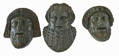 Zeus Poseidon Dionysus Bronze masks set ancient Greek Gods atifacts
