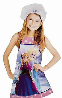 Girls Disney Frozen Apron + Chefs Hat Set Elsa Anna Kids Cooking Baking Gift Set
