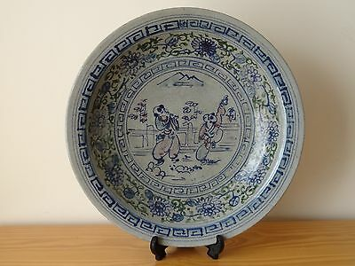 c.17th - Antique Chinese Ming Blue and White Porcelain Large Charger