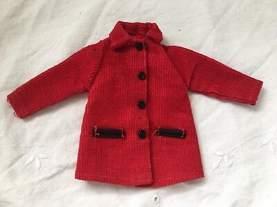 Vintage Barbie Doll Clone Knockoff Outfit Skipper Size RED CORDUROY COAT
