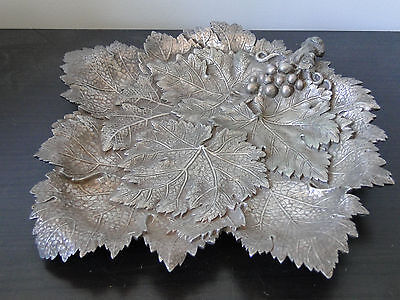 Cast & Engraved, Large Size Fig Leaf Dish, Silver Plated, Marked, London 1870