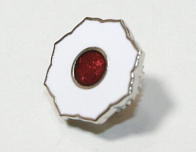 KODOKAN JUDO   Lapel Pin Badge JIGORO KANO  white & red    screw and nut type