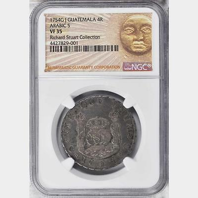 1754 GJ Guatemala 4 Reales, Arabic 5, NGC VF 35, Very Scarce Type