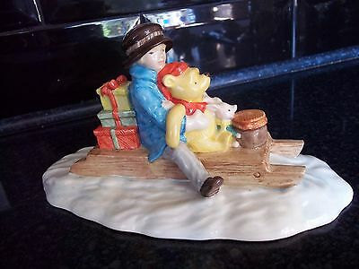 Lovely Royal Doulton Winnie The Pooh ''Going Sledging'' Figurine wp34