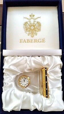 FABERGE Petite Crystal Clock, Blue Enamel Guilloche' Base, NEW IN FABERGE CASE