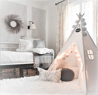 Giant Cotton Canvas Kids Teepee Childrens Wigwam Play Tent Indoor Outdoor Party