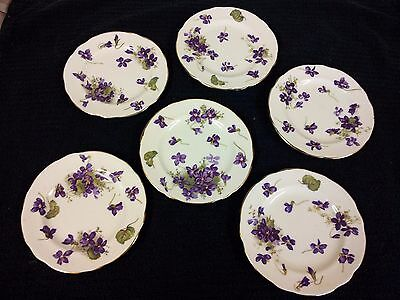 """6 Hammersley """"Violets"""" ...small tea cake plates...+coffee can and saucer+eggcup"""