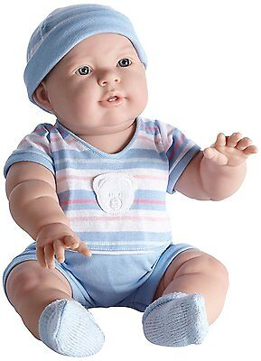Lucas 18'' Baby Boy in Blue Striped Outfit by JC Toys Berenguer, NRFB