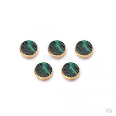 5x 3pcs Gold Plated Malachite Insert Finger Buttons for Trumpet Repairing Parts