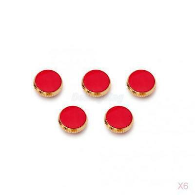 6x 3pcs Gold Plated Red Stone Insert Finger Buttons for Trumpet Repairing Parts