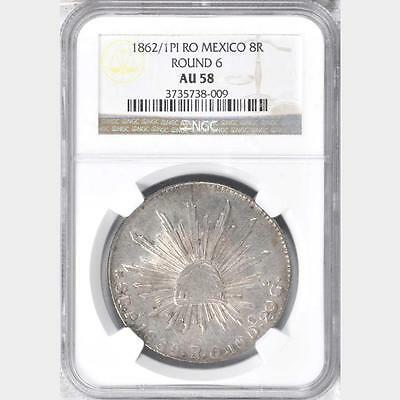 1862 /1 PI RO Mexico 8 Reales, NGC AU 58, Scarce Overdate, Sole Finest @ NGC