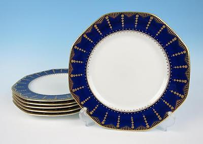 "Set 6 George Jones Cobalt & Gold w/ Beads Antique Octagonal 10"" Plates Porcelain"