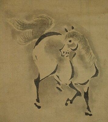Hanging Scroll Horse Japanese Painting Old Japan Picture Asian Art work ink v04