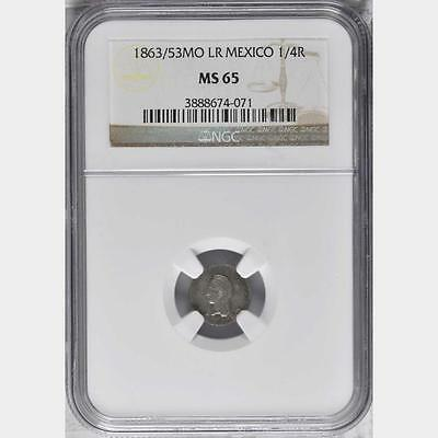 1863 /53 MO LR Mexico 1/4 Real, NGC MS 65, Finest By 2 Grades @ NGC, Superb
