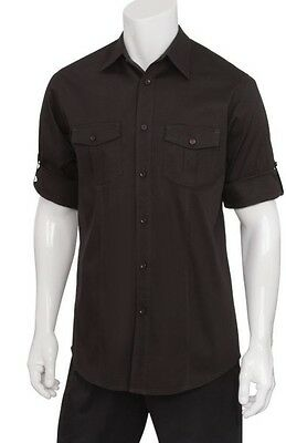 Chef Works DPDS-BLK-M Double Pocket Men's Shirt, Black, Medium NEW