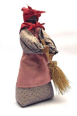 Black Americana Folk Art Cloth Doll Woman Holding Room