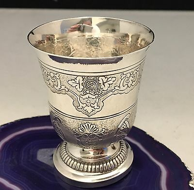STUNNING Hand Chased French Sterling Silver Small Drinking Cup c1870 Goblet-L670