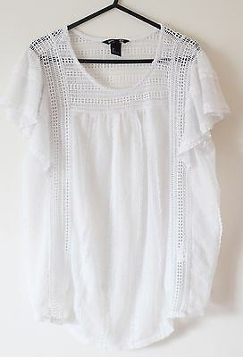 H&M Mama Off White Lace Ruffle Cap Sleeves Blouse Top Size L