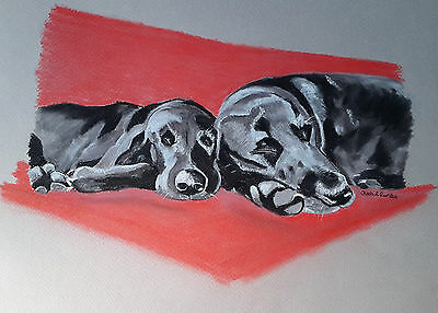 Black Labrador & Puppy Oil Pastel Pencil Drawing Direct from the Artist.