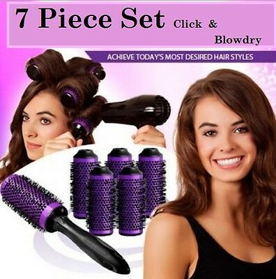 detachable hairbrush blowdry 7 piece kit curl and volume system **3 sizes