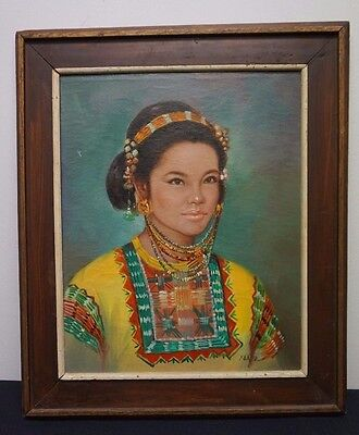 Vintage Oil on Canvas Portrait Painting Moro Woman Philippines Signed Islamic