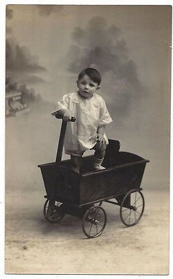 Edwardian Child with a Toy Cart RP Postcard, Unused