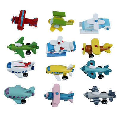 Set of 12 Wooden Airplane Model Educational Toys Y6T8