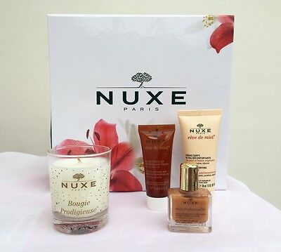 New NUXE gift set, body cream, face cleanser, oil, candle in decorative box
