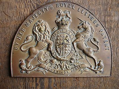 Victorian brass safe plate / plaque ~ 'By Her Majesty's Royal Letters Patent'