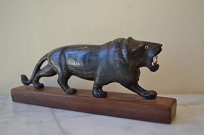 Antique Chinese Hand Carved Horn Lion Tiger Statue On Wood Stand